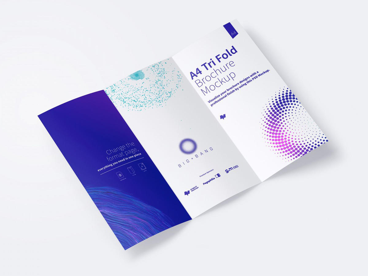 Download FREE A4 Trifold Brochure Mockup