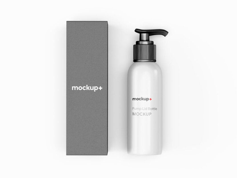 Download Free Pump Lid Bottle With Packaging PSD Mockup