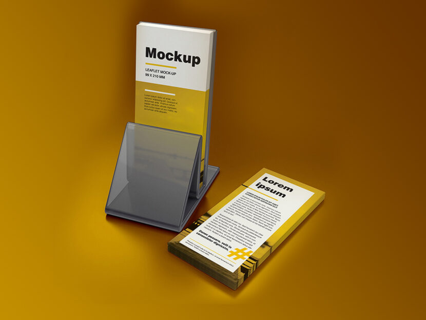 Download Free DL leaflet holder mockup
