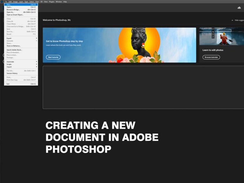 Creating a New-Document In Adobe Photoshop