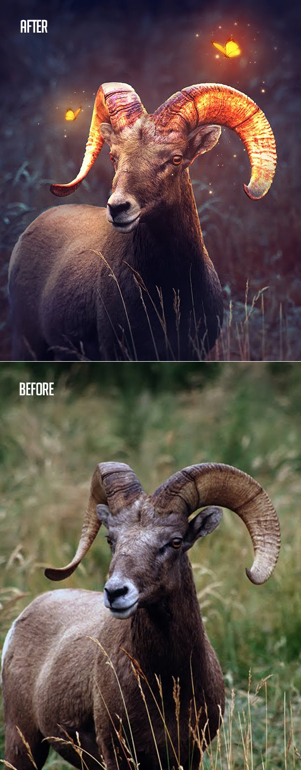 How to Create Glow Effect Fantasy Bighorn Photoshop Tutorial