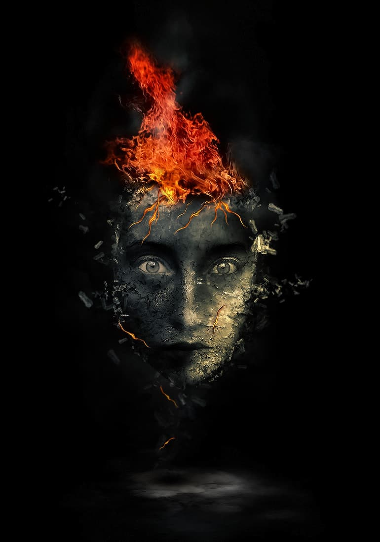 Create Surreal Human Face with Flame Hair & Disintegration Effect in Photoshop