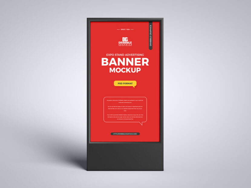 Free Expo Stand Advertising Banner Mockup