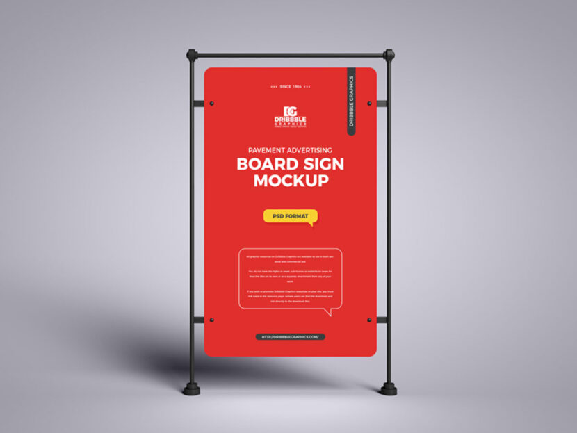 Download Free Pavement Advertising Sign Board Mockup