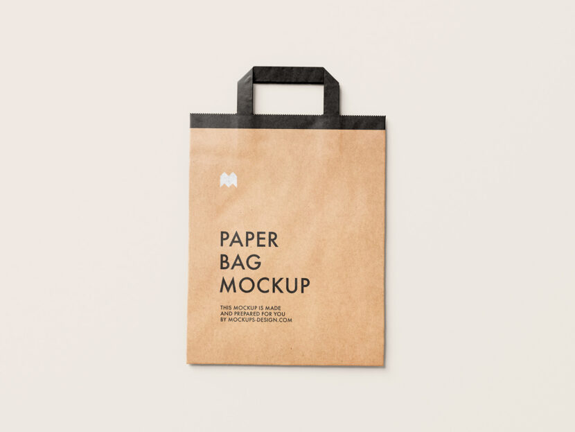 Download Free flattened paper bag mockup