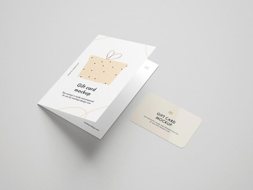 Free gift card mockup ready for use. Just paste your designs and you are good to go – perfect presentation is ready. Easy to download – easy to use!